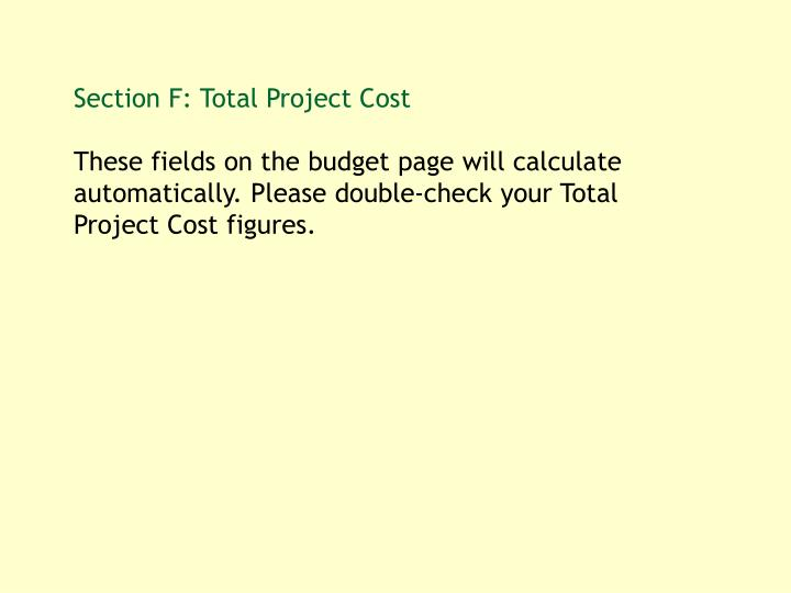 Section F: Total Project Cost