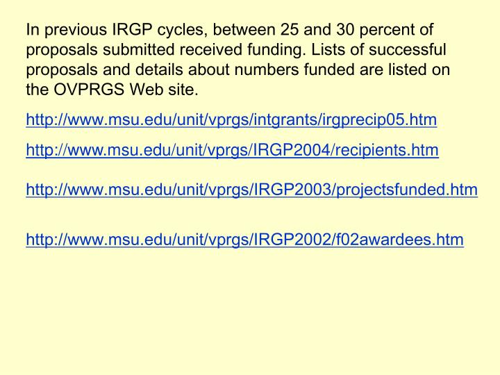 In previous IRGP cycles, between 25 and 30 percent of proposals submitted received funding. Lists of successful proposals and details about numbers funded are listed on the OVPRGS Web site.