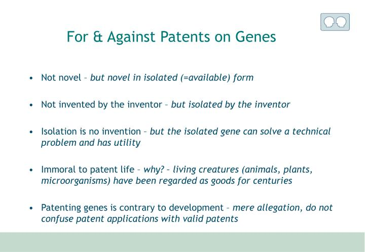 For & Against Patents on Genes