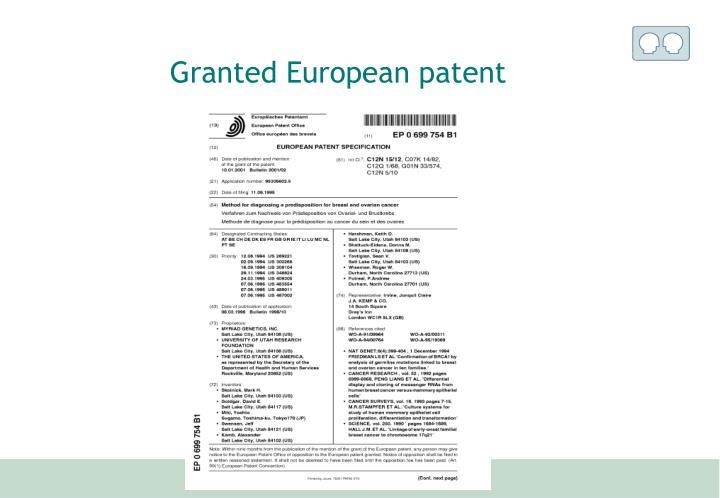 Granted European patent