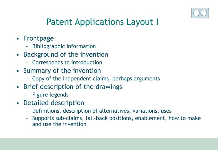 Patent Applications Layout I