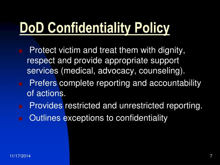 DoD Confidentiality Policy