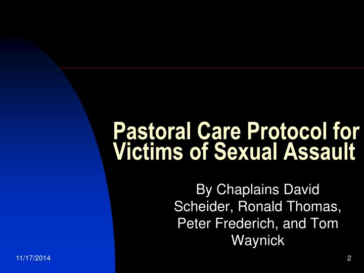 Pastoral Care Protocol for Victims of Sexual Assault