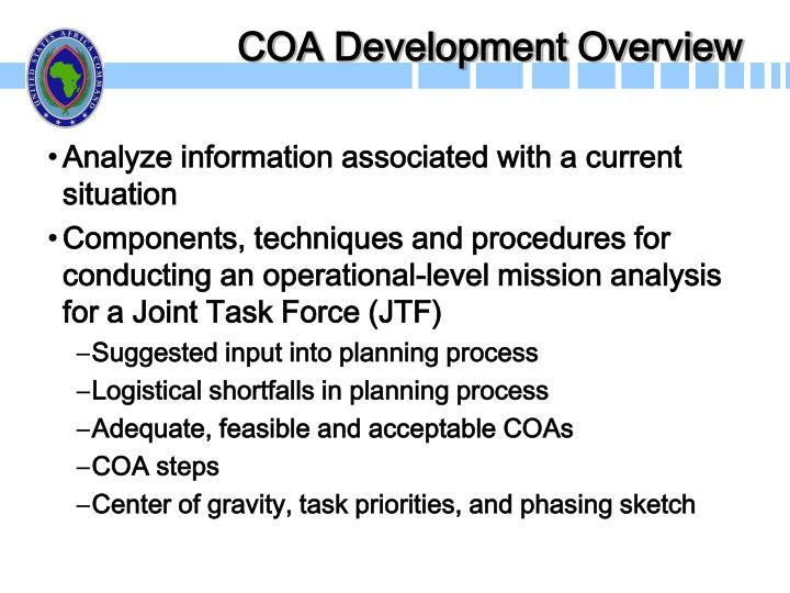 COA Development Overview