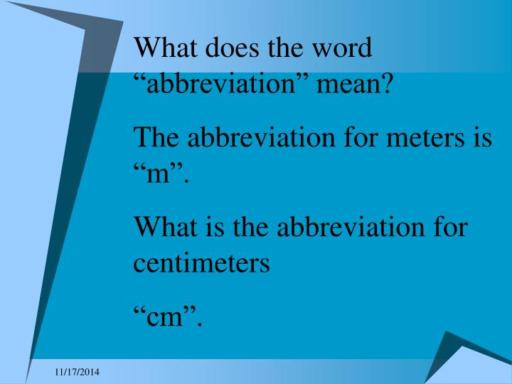 """What does the word """"abbreviation"""" mean?"""