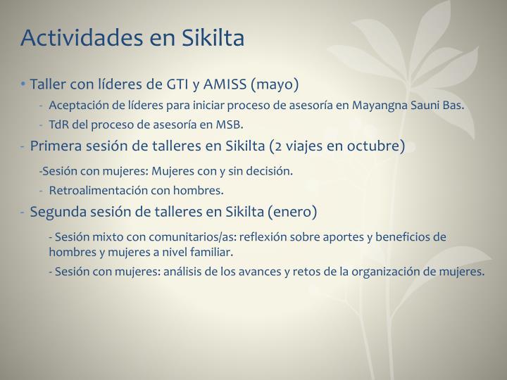 Actividades en Sikilta