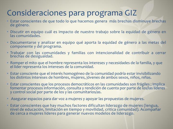 Consideraciones para programa GIZ