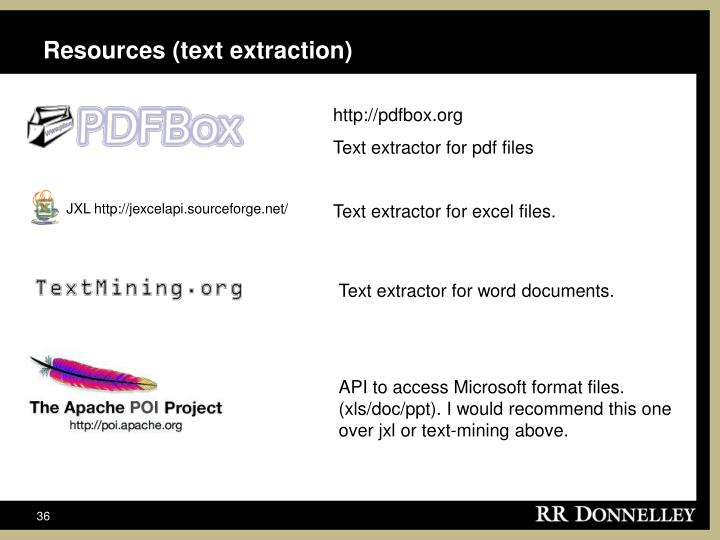 Resources (text extraction)