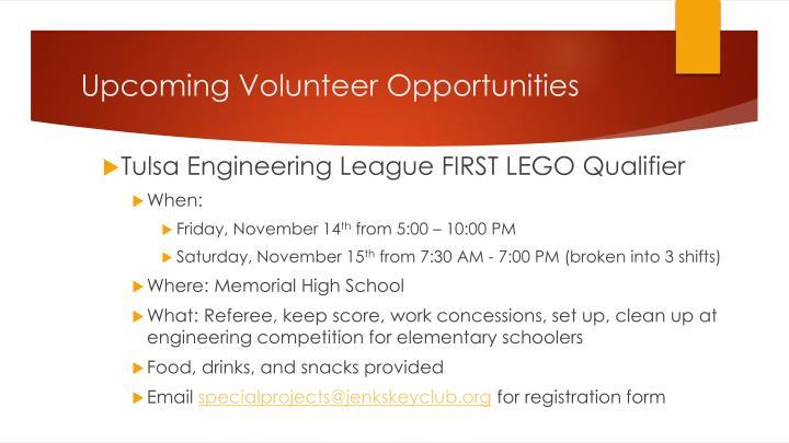 Upcoming Volunteer Opportunities