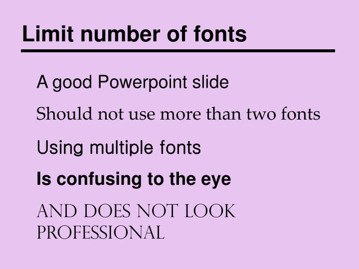 Limit number of fonts