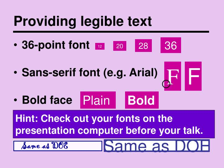 Providing legible text