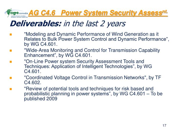 AG C4.6   Power System Security Assess