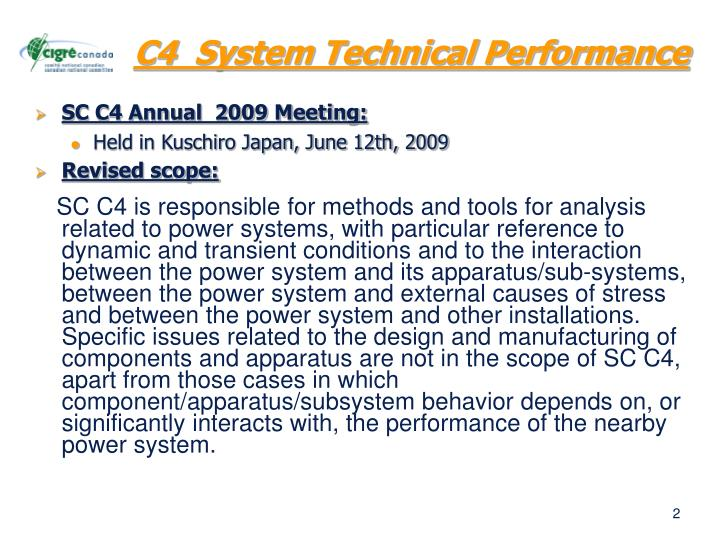 C4  System Technical Performance