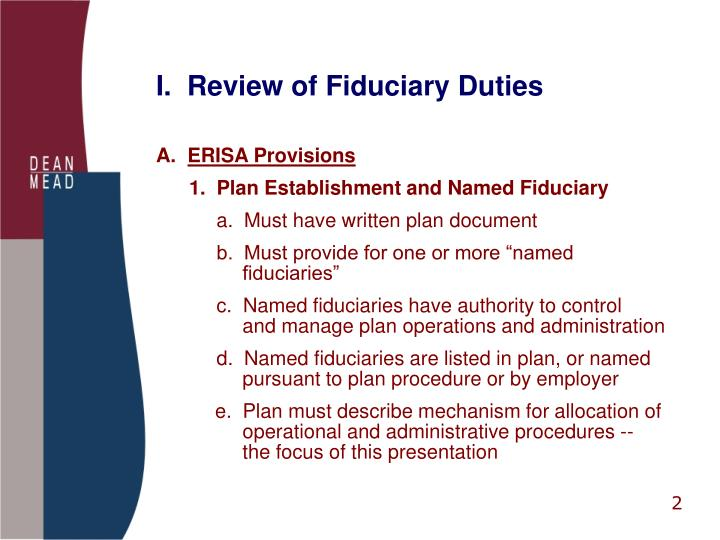 I.  Review of Fiduciary Duties