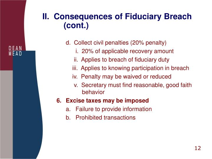 II.  Consequences of Fiduciary Breach                (cont.)