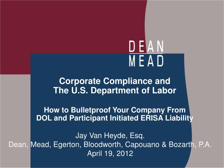 Corporate Compliance and