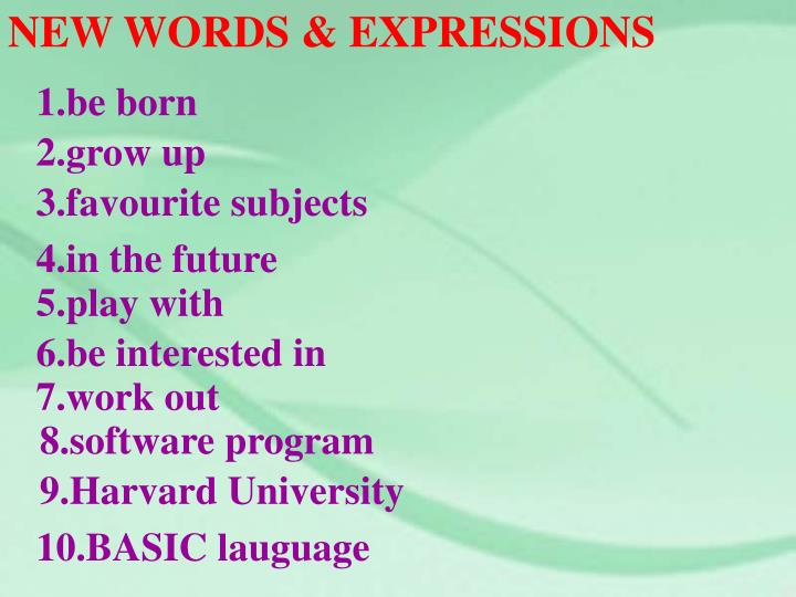 NEW WORDS & EXPRESSIONS
