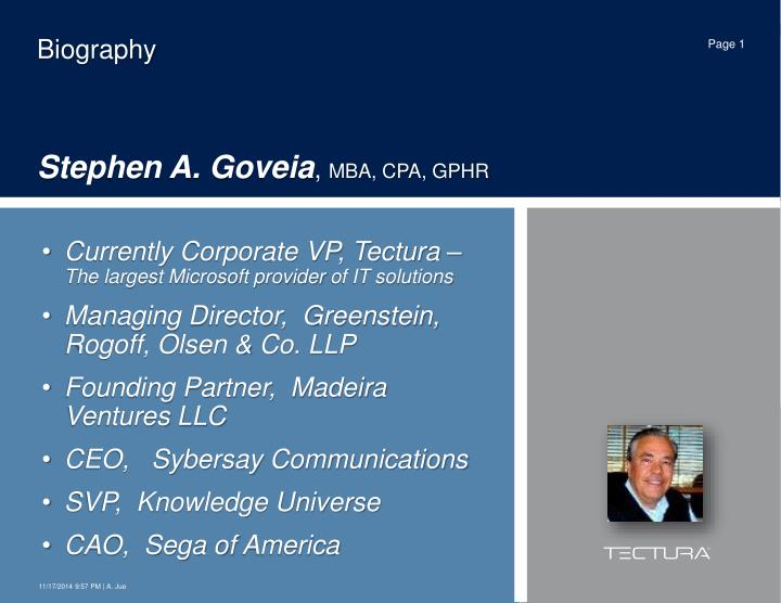 Biography stephen a goveia mba cpa gphr