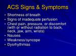 acs signs symptoms