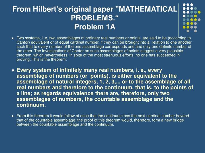 "From Hilbert's original paper ""MATHEMATICAL PROBLEMS."""