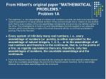 from hilbert s original paper mathematical problems problem 1a