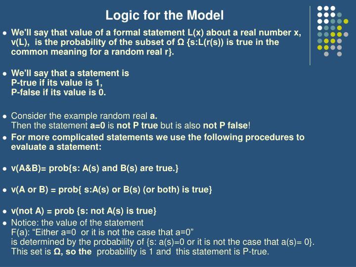 Logic for the Model