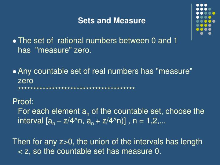 Sets and Measure