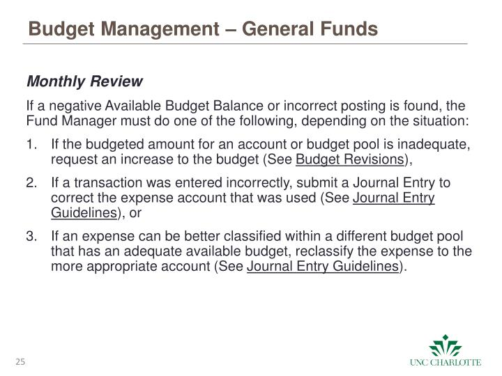 Budget Management – General Funds