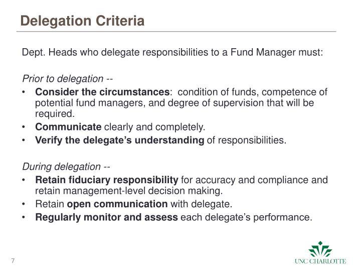 Delegation Criteria
