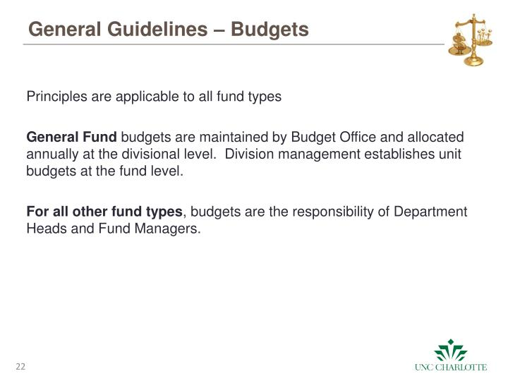 General Guidelines – Budgets