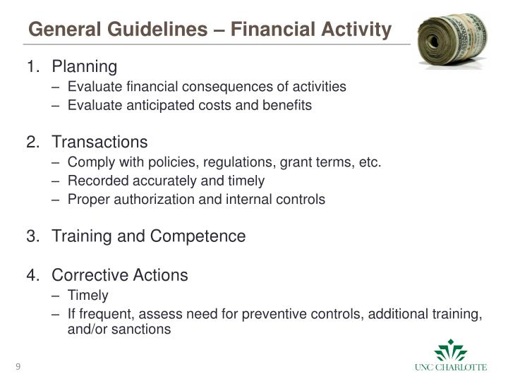 General Guidelines – Financial Activity