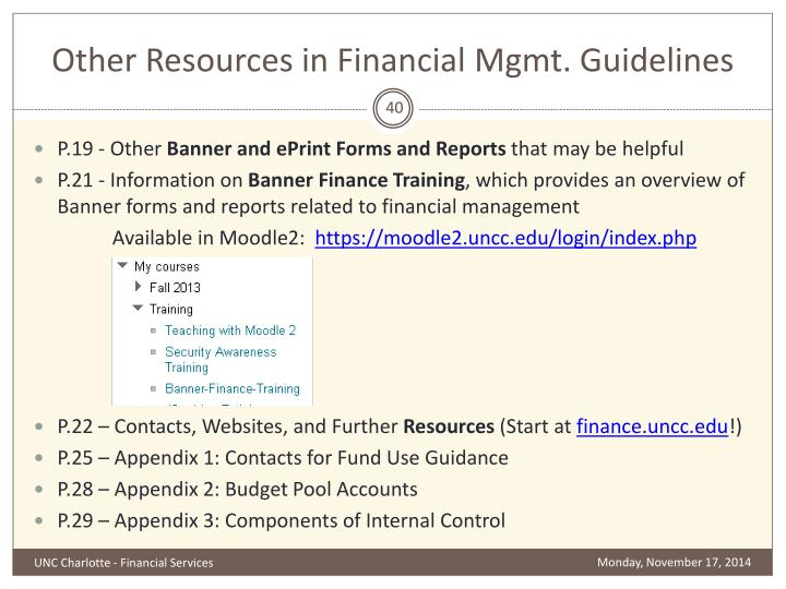 Other Resources in Financial Mgmt. Guidelines