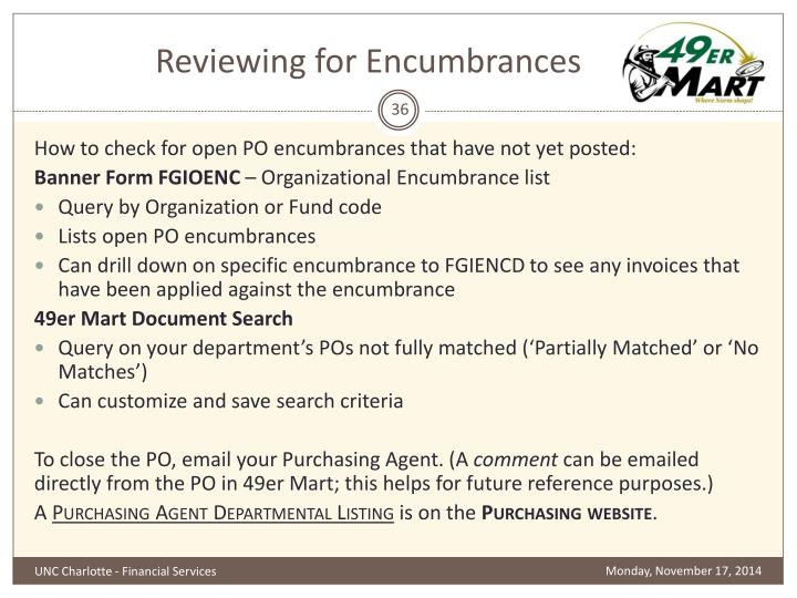Reviewing for Encumbrances