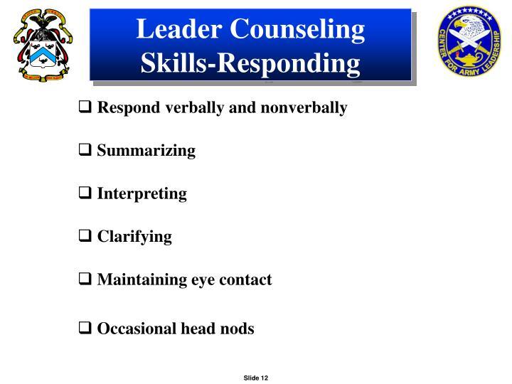 Leader Counseling Skills-Responding