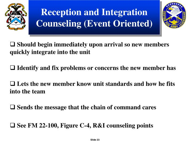 Reception and Integration Counseling (Event Oriented)