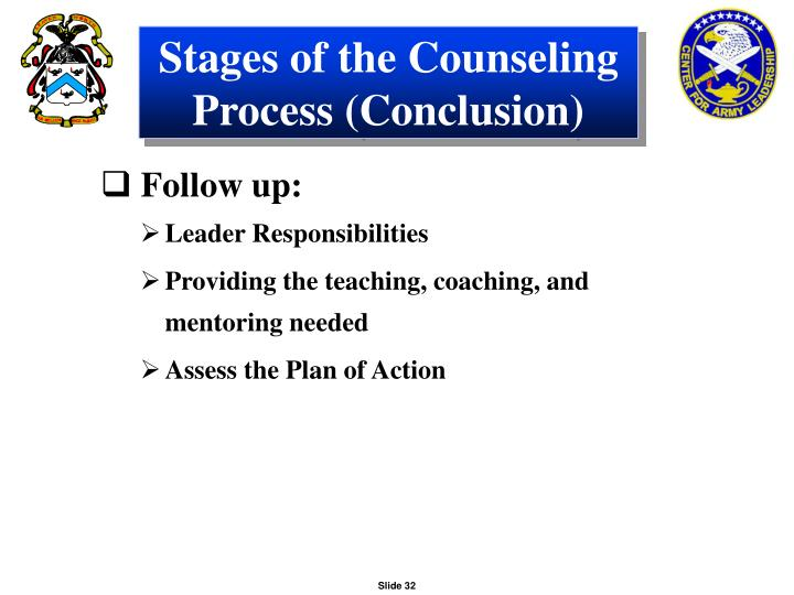 Stages of the Counseling Process (Conclusion)