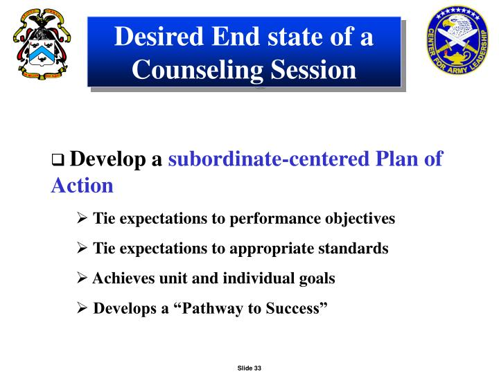 Desired End state of a Counseling Session