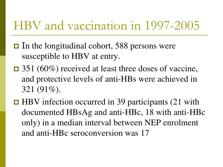 HBV and vaccination in 1997-2005