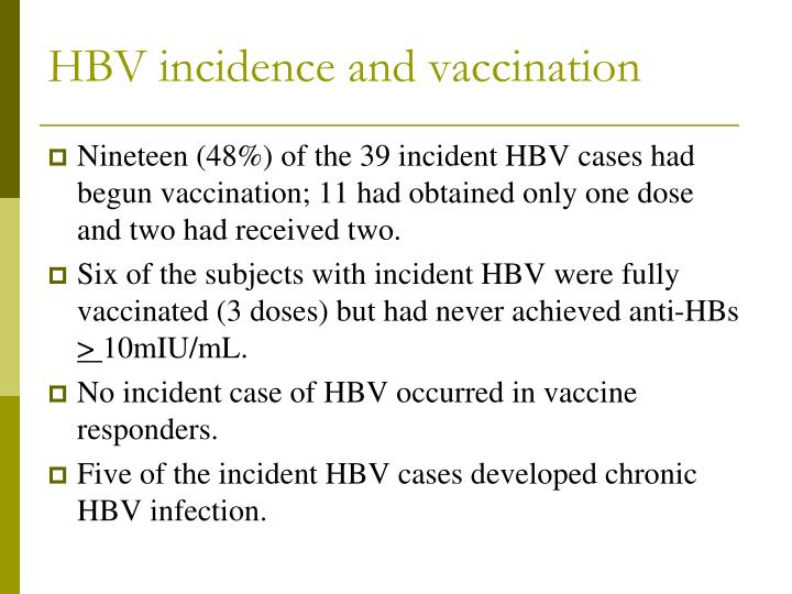 HBV incidence and vaccination
