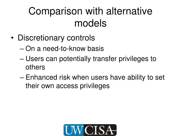 Comparison with alternative models