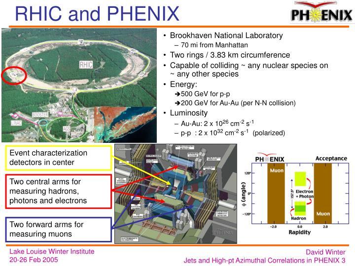 Event characterization detectors in center