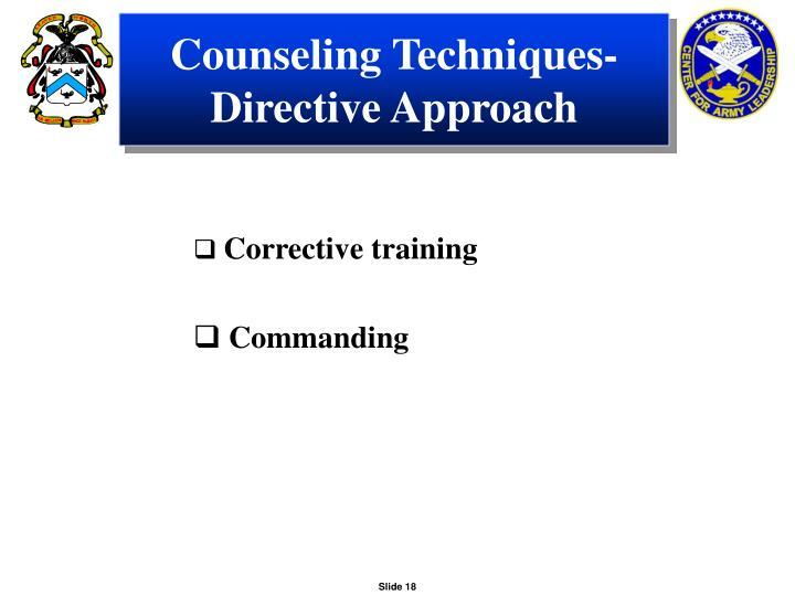 Counseling Techniques-Directive Approach