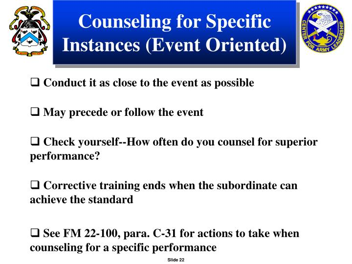 Counseling for Specific Instances (Event Oriented)