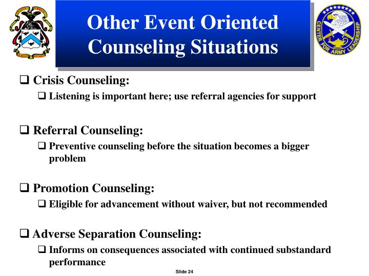 Other Event Oriented Counseling Situations