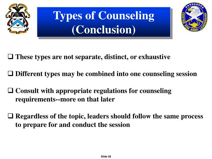 Types of Counseling (Conclusion)