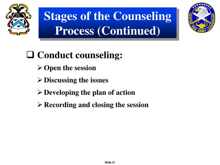 Stages of the Counseling Process (Continued)