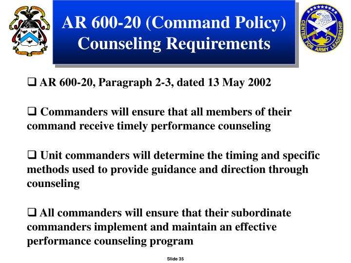 AR 600-20 (Command Policy) Counseling Requirements