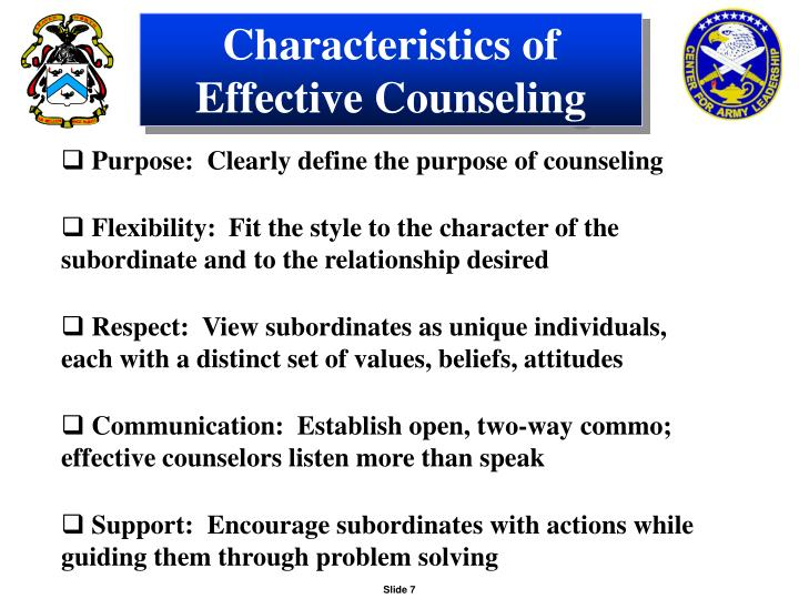 Characteristics of Effective Counseling