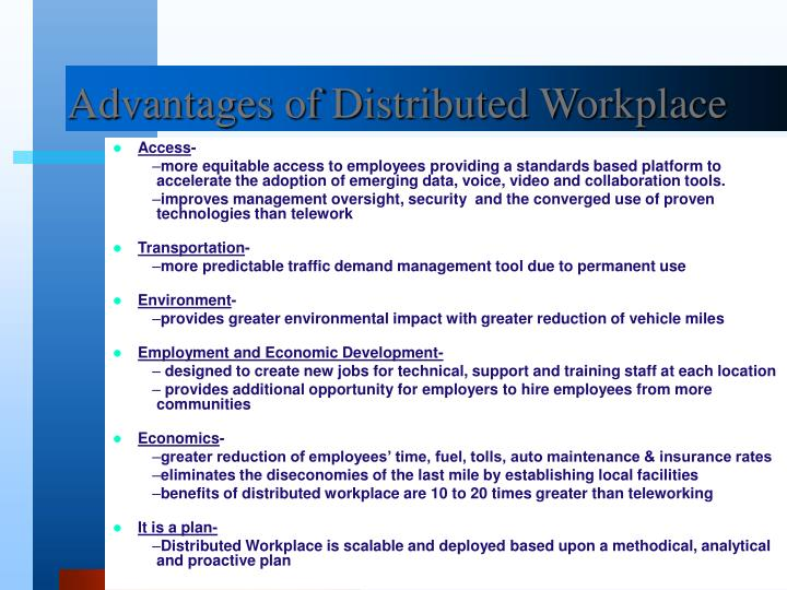 Advantages of Distributed Workplace