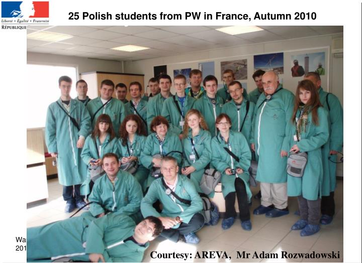 25 Polish students from PW in France, Autumn 2010